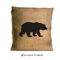 Bear Pillow, Bear Silhouette,Cabin Pillow,  Cabin Decor, Rustic Home Decor, Cabin Art on Etsy, $24.00