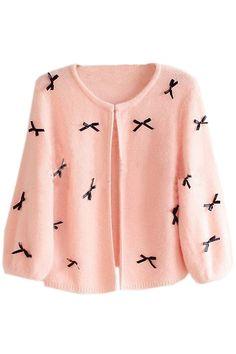 Black Bowknot Pink Cardigan