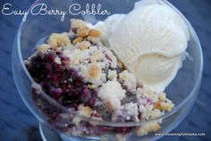 4 Ingredient Berry Cobbler Recipe - Great last minute dessert. Very easy and always gets great reviews. Meaningful Mama