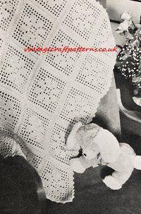 Filet Flower Cot Blanket - baby pram blanket - vintage crochet pattern