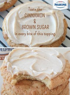 As if snickerdoodles weren't tasty enough, spread a little Cinnamon Brown Sugar Cream Cheese on top for an easy alternative to cream cheese frosting. #foodhack #dessert #cookies