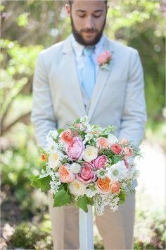 rose and ranunculus wedding bouquet