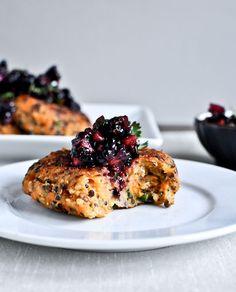 Sweet potato, quinoa cakes with blackberry salsa.