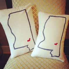 Make your own state-inspired pillow like this one from etsy using #canvascorp #canvaspillow