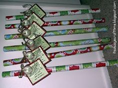 Cute neighbor gift idea! Its wrapping paper  tape, and the tag reads Since November youve been shopping, barely sleeping, hardly stopping. Now its late, youre in a scrape, out of paper or out of tape. Hope this wrap helps save the day! Have a Happy Holiday!