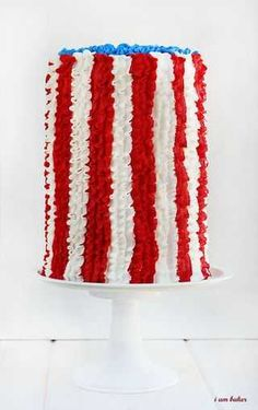 Red, White and Blue 4th of July Cake.