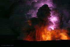 Lava Blast and Electric Lightning Bolt Within a Lava Plume ~ Island of Hawaii