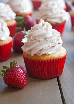 Strawberry Cupcakes with Strawberry Meringue Frosting