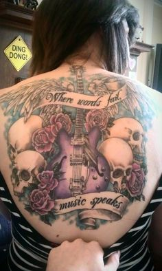 skulls, music tattoos, skull tattoos, art, rose tattoos, roses, back tattoos, music speak, tattoo ink
