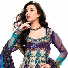 Light Beige Net Anarkali Churidar Kameez With Dupatta