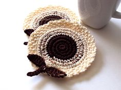 Cream Brown Flowers Crochet Coasters . Leaves by MariMartin, $20.00