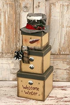 New Primitive Country Folk Art Welcome Winter SNOWMAN BOX SET Stacking Boxes  #FrostySnowman