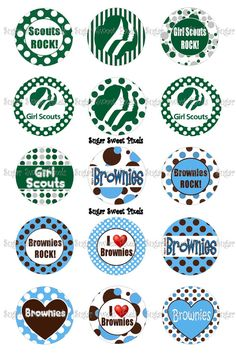 INSTANT DOWNLOAD Girl Scout Brownies Inspired 1 inch Circle Bottlecap Images