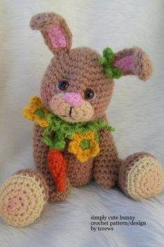 Crochet Pattern Bunny by Teri Crews instant download PDF format on Etsy, $4.95