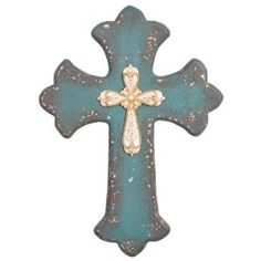 Wilco Imports Turquoise Colored Distressed Wood Finish Wall Cross, 8-1/2-Inch by 1-Inch by 12-Inch distressed wood, wall accents, turquois rhineston, cross wall, turquoise, wall crosses, distress wood, rhineston cross, finish wall