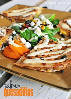 Salmon Quesadillas w/mango habanero Greek yogurt sauce!