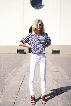 White skinnies, stripes, sandals