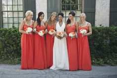 Such a fun pop of color #bridesmaids | St. Augustine Summer Wedding from Christina Block Photography  Read more - http://www.stylemepretty.com/florida-weddings/2013/10/29/st-augustine-summer-wedding-from-christina-block-photography/