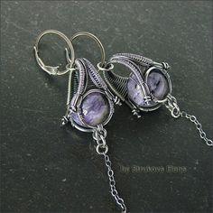 Charoite and silver earrings by Strukova Elena