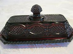 Image detail for -Vintage Avon 1876 Cape Cod Ruby Red Glass Covered Butter Dish   eBay