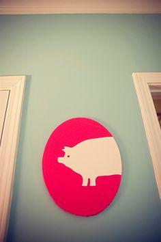 PIG oval canvas large brush stroke POP art by westeightythird, via Etsy.