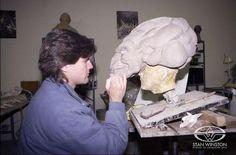 Alec Gillis sculpts a demonic leer onto the face of Stan WInston's PUMPKINHEAD.