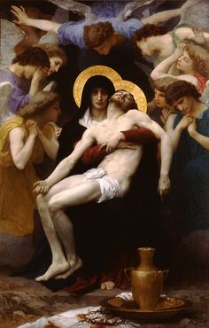 "Images of Jesus...which do you connect with?  William Adolphe Bouguereau (William Bouguereau) (1825-1905)  Pietà  Oil on canvas  1876  148 x 230 cm  (4' 10.27"" x 7' 6.55"")  Dallas Museum of Fine Arts (Dallas, Texas, United States)"