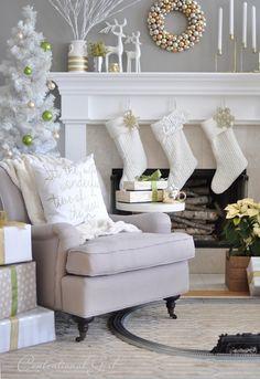 christmas pillow in chair   Mixed Metallics Christmas Mantel   Centsational Girl chair, fireplac, christma decor, white christmas decorations, hous, christma pillow, christmas mantels