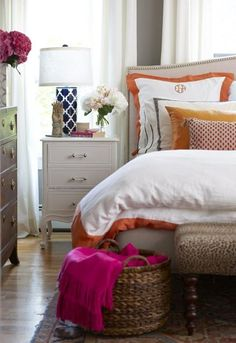 Colom and Brit Interiors interior, design bedroom, bedroom decor, color, monogram, lamp, erin gate, guest rooms, bedroom designs