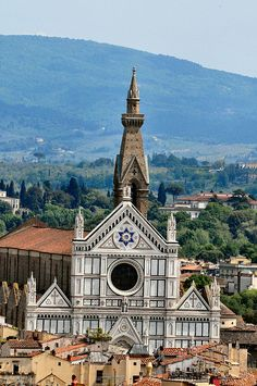 Santa Croce--Firenze (Florence), Italy. This church is where  Michelangelo, Galileo, Machiavelli, Foscolo, Gentile and Rossini, are buried.