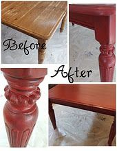 Detailed how to for sanding & repainting furniture. Several red & black pieces with paints notef.