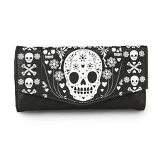 Skull Quilted Wallet by Loungefly (Black/White) #InkedShop #wallet #sugarskull #skull #quilted #accessories #style #fashion