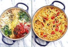Pasta, Tomatoes, Veggie Broth, Olive Oil, and Seasonings (details below)  Throw it all in the pot, INCLUDING the uncooked Pasta, and cook! - Bring it to a boil, then reduce to a simmer. The starch leaches out of the pasta and makes a rich, warm sauce for the noodles. The other ingredients cook right along with the pasta