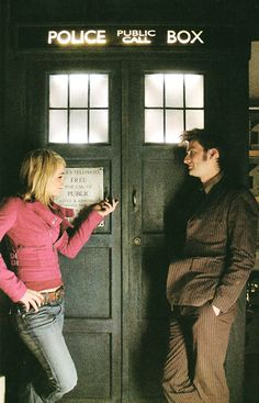 She's looking at the TARDIS, he's lovingly looking at her. Too cute.