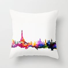 Paris In Watercolor Throw Pillow by Talula Christian  - $20.00