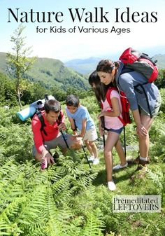 Nature Walk Ideas for Kids of Various Ages. Games and Ideas to keep kids interested during a nature walk.