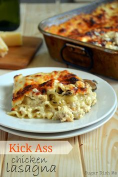 Kick Ass Chicken Lasagna- this cheesy chicken lasagna is everything a delicious lasagna should be! Comfort food for real.