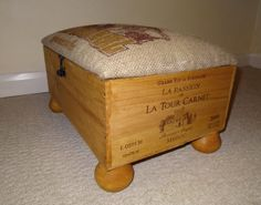 Footstool - Up-cycled Rustic Wine Crate & Coffee Sack Storage Footstool - Shabby Chic