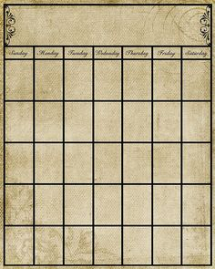 Vintage calendar- free printable