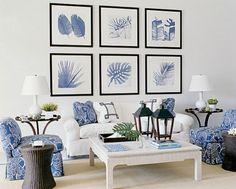 Blue and white coastal living room with white slipcover sofa