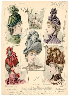 Headgear 1860-1921, Plate 149. Fashion plates, 1790-1929. The Costume Institute Fashion Plates. The Metropolitan Museum of Art, New York. Gift of Woodman Thompson (b17509853) #hats #fashion