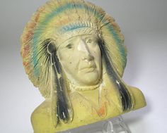 Vintage 1946 Carnival Chalkware Indian Chief by borahstyle on Etsy, $18.00