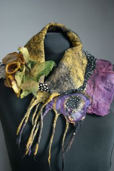 Nuno Felted scarflette with a  nuno felted by sugarplumoriginals, $185.00