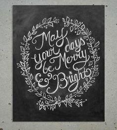 Merry & Bright Christmas Chalkboard Art Print.