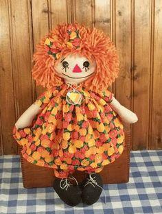 Handmade Fall Raggedy Ann Doll w Orange Hair in Pumpkin Dress from Cathy Mullins
