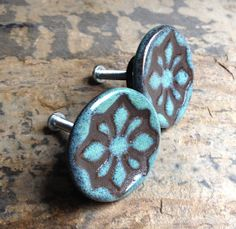 1 Turquoise and Brown Geo Star Cabinet Knob on Etsy, $6.00