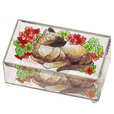 Cats & Geraniums Glass Art Trinket Keepsake Box Home Decor