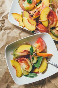 Tomato and peach salad with basil and red onion