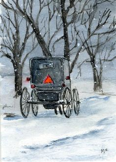 Image detail for -Amish Way Painting by Mary Mapes - Snow Travel Amish Way Fine Art ...