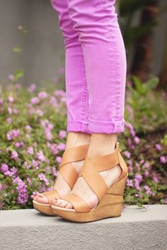* shoes, colored pants, fashion, style, pink pants, wedge sandals, wedges, colored denim, colored jeans